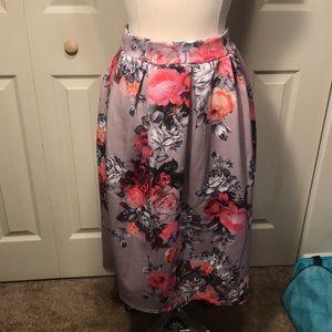 Boohoo Floral Midi Skirt